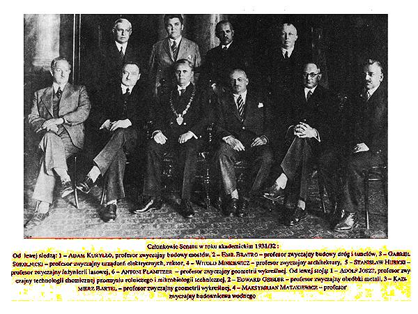 Członkowie senatu w roku akademickim 1931/32 (Fot. lwow.home.pl)