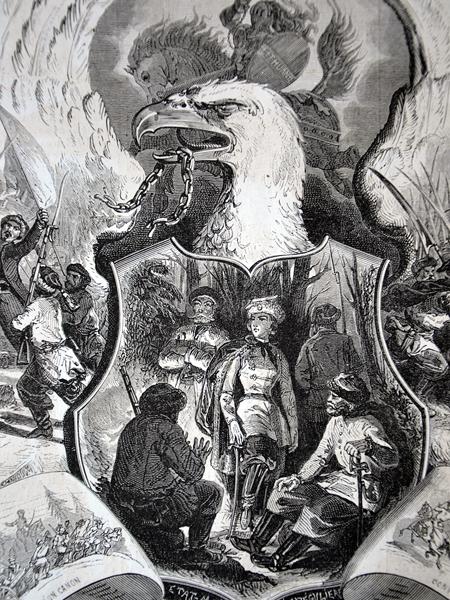 """Powstanie Styczniowe. Alegoria drzeworyt. Grafika pochodzi z tygodnika """"Le Monde Illustre"""" 1863 r."""