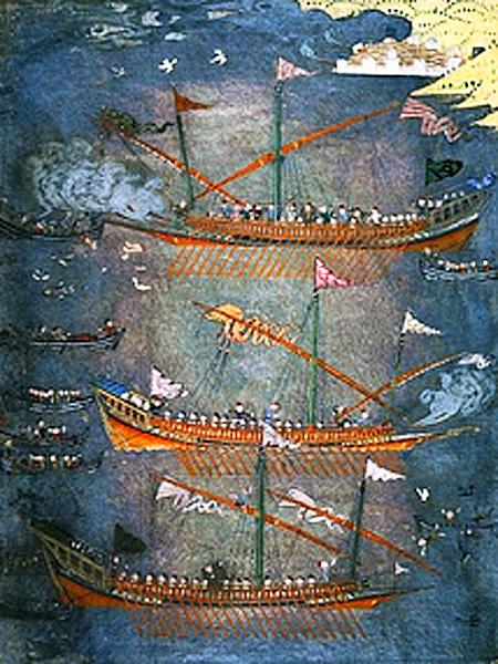 Czajki kozaków zaporoskich atakują galery tureckie w latach 30-tych XVII wieku (Fot. pl.wikipedia.org)