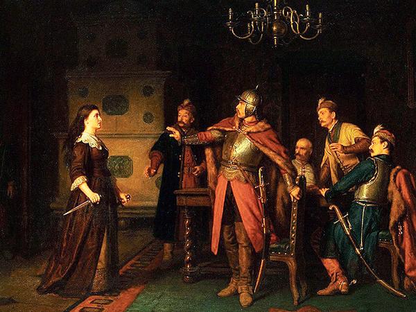 """Leopold Loeffler """"Anna Dorota Chrzanowska na zamku w Trembowli"""", Lwowska Galeria Sztuki, Lwów (Fot. malygosc.pl)"""