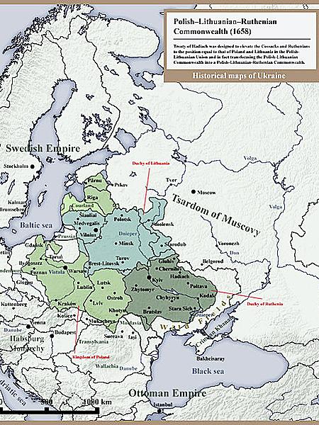 Rzeczpospolita Trojga Narodów według unii hadziackiej 1658 (Fot. pl.wikipedia.org)
