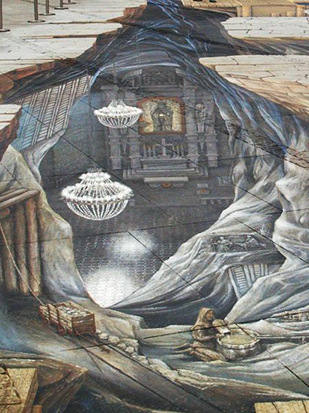 Plansza przedstawiająca przekrój kopalni w Wieliczce w technologii 3D (Fot. Maria Basza)