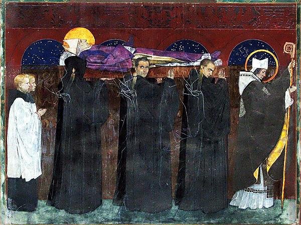 Pogrzeb świętego Odilona. Fresk z katedry ormiańskiej we Lwowie (Fot. garnek.pl)
