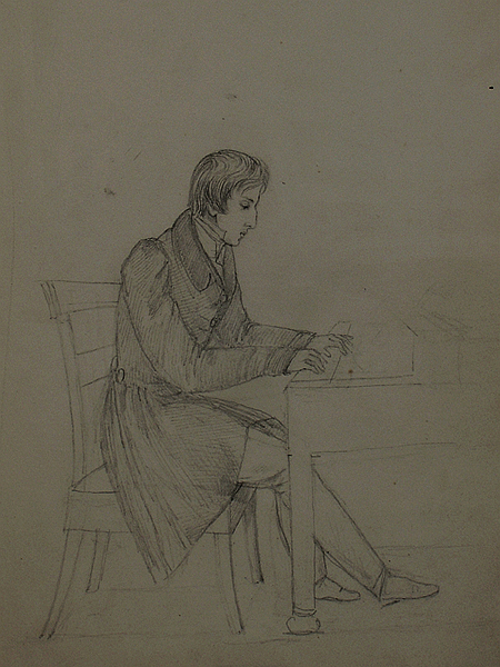 Chopin przy fortepianie, rysunek Elizy Radziwiłłówny z 1826 r. (Fot.chopin.pl)