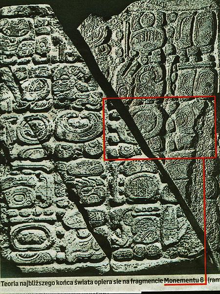 Fotografia monumentu z epoki Majów z inskrypcją, która jest główną sprawczynią zamieszania (Fot. pochodzi z Dziennika Polskiego z dnia 16.11.2012 roku)
