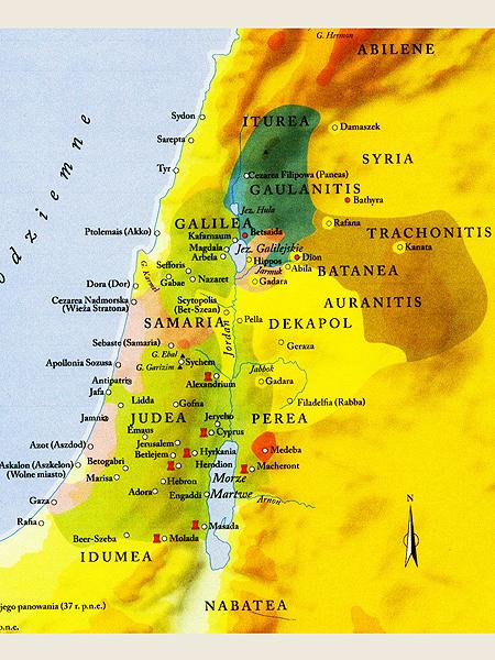 """Mapka Królestwa Judei za Heroda Wielkiego (""""Atlas miejsc biblijnych"""" – wyd. PWN, Warszawa, 2007)"""