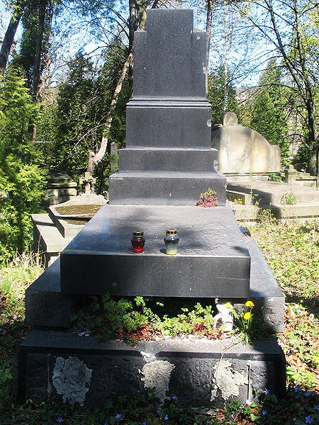 Grób Karola Mikulego na Cmentarzu Łyczakowskim - zniszczony i pozbawiony rzeźby Schimsera (Fot. pl.wikipedia.org)