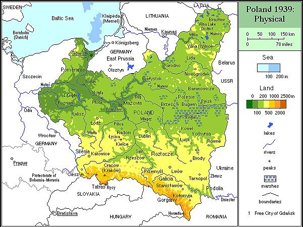 Mapa Polski z roku 1939. Najbardziej na południe wysunięte województwo stanisławowskie (Fot. dws.org.pl)