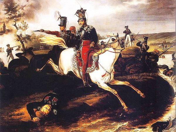 Śmierć księcia Józefa Poniatowskiego. Aautorstwo obrazu bywa przypisywane J. Suchodolskiemu