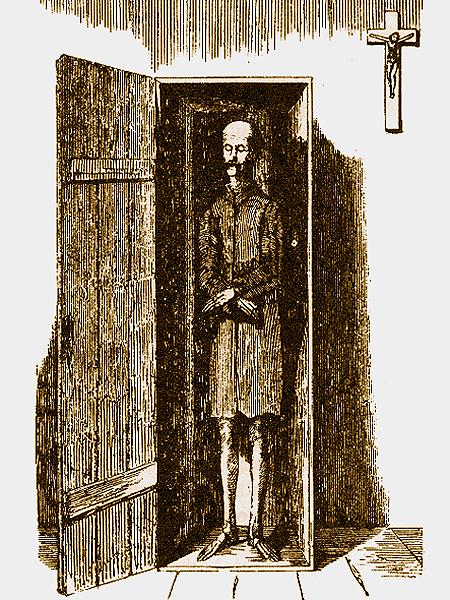 Rysunek redaktora Władysława Maleszewskiego. Trup Sicińskiego w kościelnej szafie