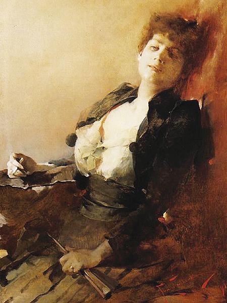 Portret kobiety z wachlarzem i papierosem (Fot. pinakoteka.zascianek.pl)