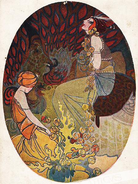 """Kajetan Stefanowicz, pocztówka """"Królowa i niewolnik"""", 1930 (Fot. atticus.pl)"""