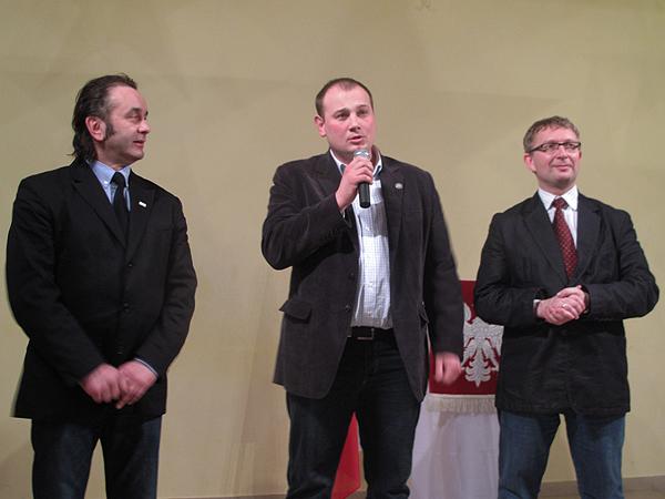 Piotr Grzegorzewski, Witold Szpiczyński i Artur Górski podczas spotkania z Polakami w Kamieńcu Podolskim (Fot. Agnieszka Krawczyk)