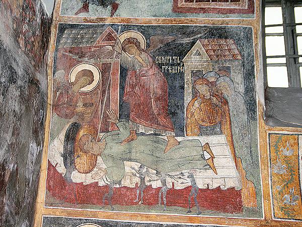 """""""Śmierć grzesznika"""" w cerkwie w Łużanach – fresk 1453 roku (Fot. Dmytro Antoniuk)"""
