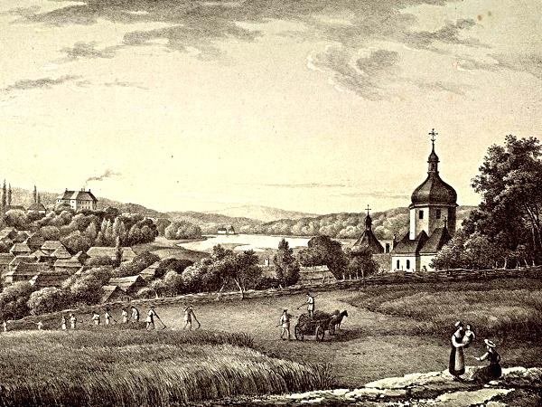 Ryc., Antoni Lange. Widok wsi Laszki Królewskie w cyrkule złoczowskim Biblioteka Narodowa