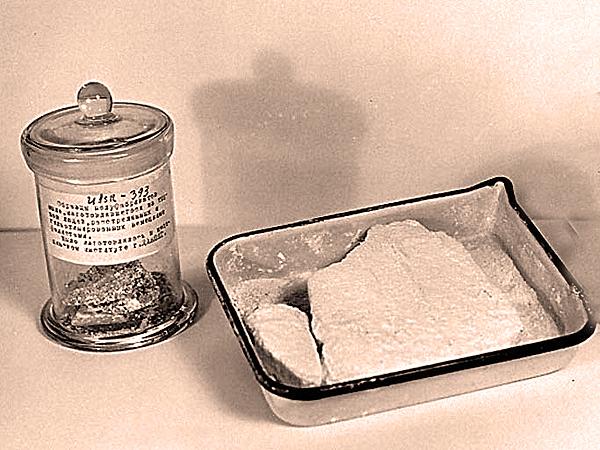 Dowód rzeczowy USSR 393. Materiały przedstawione przez delegację radziecką na procesie w Norymberdze. Oba słoje i kuweta zawierają mydło robione przez Spannera z ludzkiego tłuszczu (Fot. archiwum)