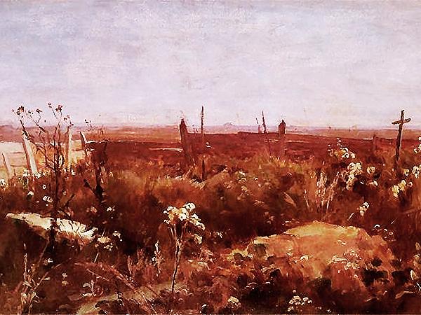 Malarstwo polskie. Witold Pruszkowski, Kurhany w nocy, 1886 (Fot. Muzeum Sztuki, Łódź)