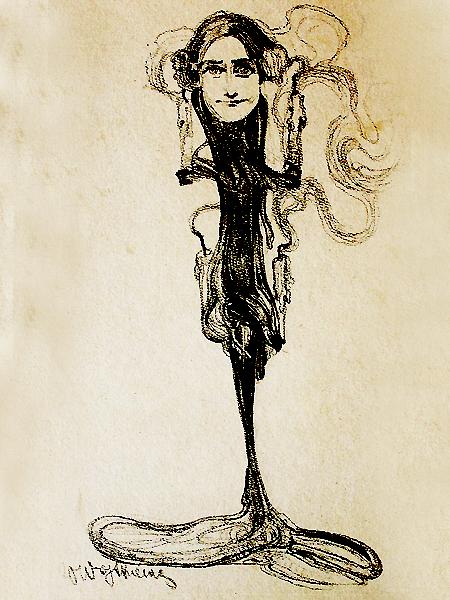 Jadwiga Mrozowska jako Psyche. Rys. Witold Wojtkiewicz, 1904 r. (Fot. czasnawnetrze.pl)