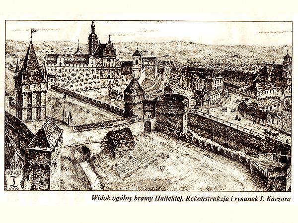 Widok ogólny bramy Halickiej. Rekonstrukcja i rysunek. Rys. I. Kaczor (Fot. lwow.com.pl)