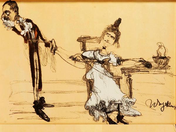 """Jadwiga Mrozowska i Andrzej Milewski jako Albin i Klara w """"Ślubach panieńskich"""", 1904 r. Rys. Witold Wojtkiewicz (Fot. desa.pl)"""