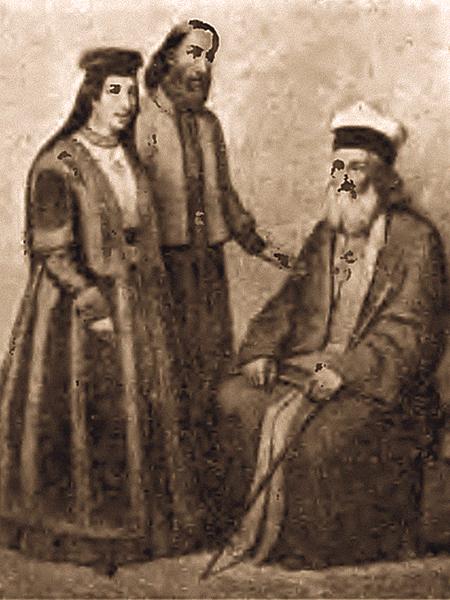 Karaimi łuccy, St. Hazzan Abraham Firkowicz i Hazz. Gabriel Firkowicz z żoną. Rycina z 1862 r.