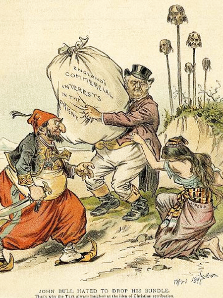 Karykatura ukazująca brytyjskie interesy na Bliskim Wschodzie z 1895, kiedy to świat usłyszał po raz pierwszy o pogromach. Kobieta reprezentuje Armenię. (Fot. pl.wikipedia.org)
