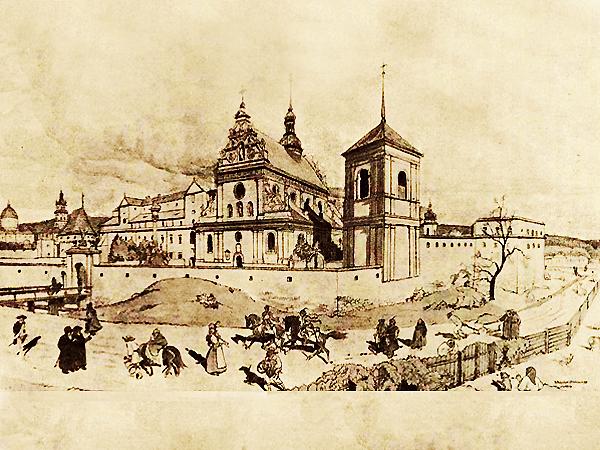 Kościół i klasztor O.O. Bernardynów. – Rekonstrukcja i model: Inż. Janusz Witwicki. – Akwarela: Prof. Dr Władysław Witwicki (Fot. lwow.com.pl)