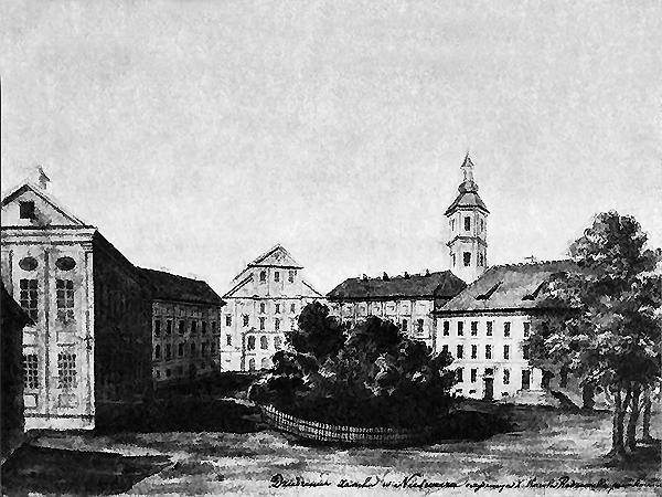 Zamek Radziwiłłów w Nieświeżu, rys. Napoleona Ordy (Fot. commons.wikimedia.org)