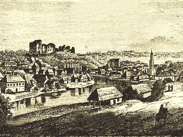 Buczacz, siedziba starosty kaniowskiego. Litografia z XIX w.