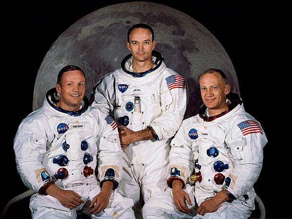 Załoga statku Apollo 11: Neil Armstrong – dowódca, Michael Collins – pilot modułu załogowego, Edwin Aldrin – pilot modułu księżycowego (Fot. fly.historicwings.com)