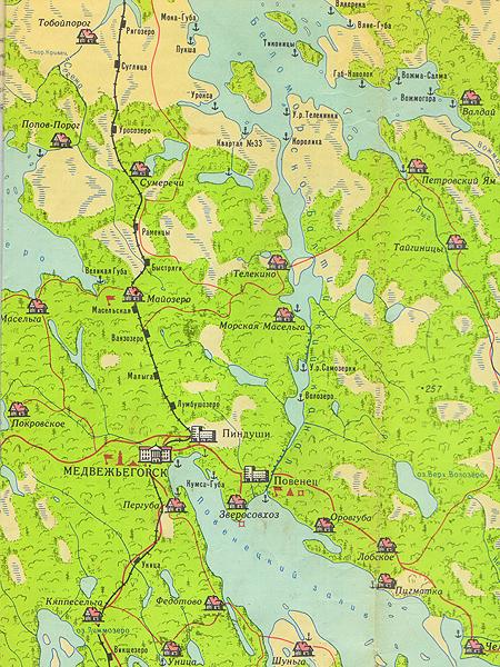 Mapa części Karelii z Białomorsko-Bałtyckim Kanałem