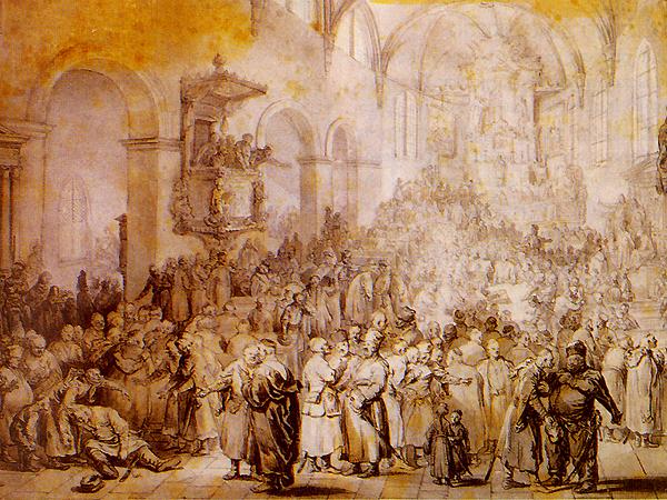 Fot. Jean-Pierre Norblin de La Gourdaine, Sejmik w kościele 1785 (Fot. commons.wikimedia.org)