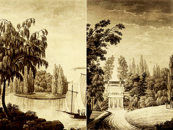 Park Zofiówka. Ryciny (akwatinty) Wilhelma Friedricha Schloetterbecka (Fot. polona.pl)