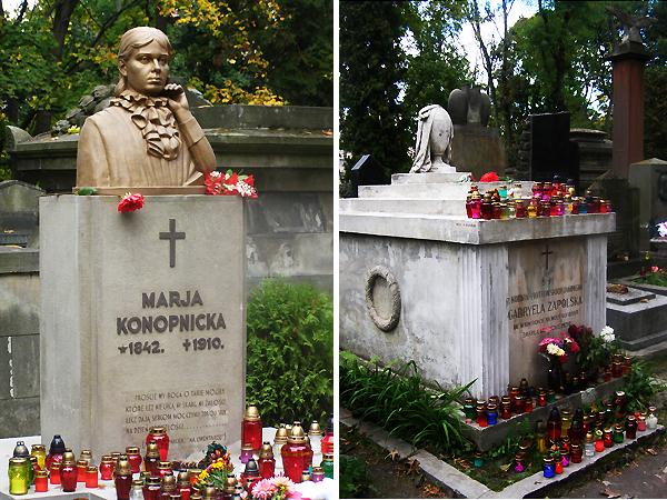 Pomnik Marii Konopnickiej i sarkofag Gabrieli Zapolskiej (Fot. Maria Basza)