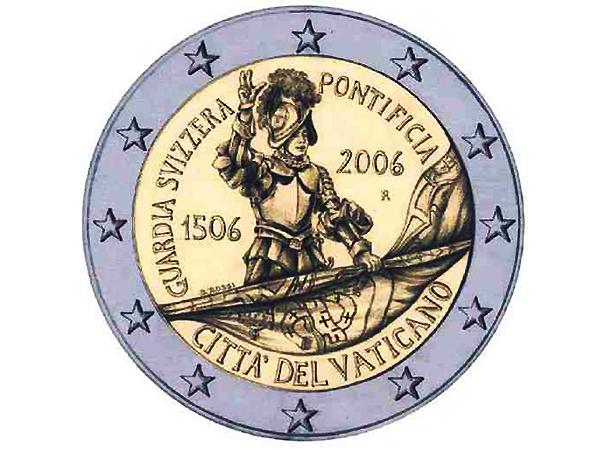 Moneta o nominale 2 euro, wydana przez Watykan z okazji jubileuszu, przedstawia rekruta składającego uroczystą przysięgę na sztandar Watykańskiej Gwardii Szwajcarskiej (Fot. katalogmoneteuro.eu)
