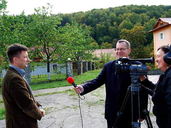 Z Michałem Dworczykiem rozmawiają Mirosław Rowicki i Maria Basza (Fot. Konstanty Czawaga)