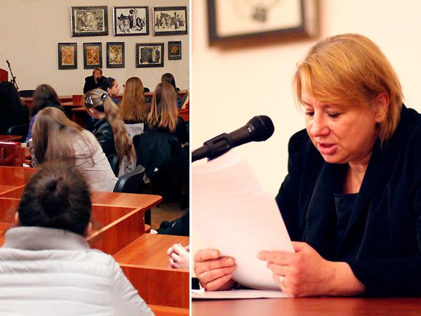 Spotkanie Magdaleny Merty ze studentami polonistyki na uniwersytecie im. I. Franki we Lwowie (Fot. Weronika Sadowa)