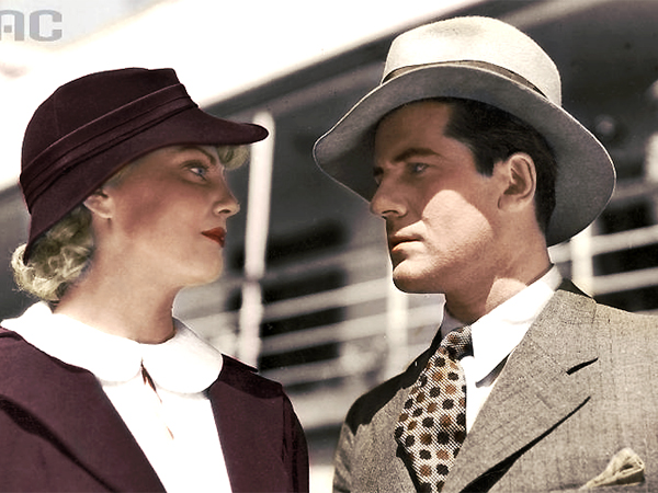 """Maria Bogda (Janka Zatorska) i Adam Brodzisz (Adam Halny) w filmie """"Rapsodia Bałtyku"""", 1935"""