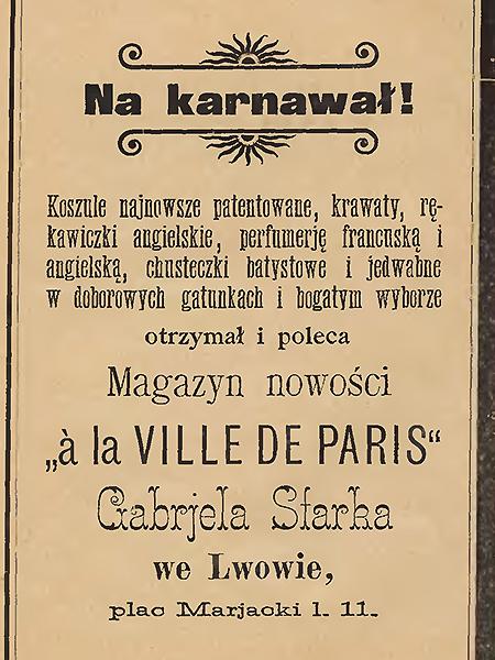 Ogłoszenie karnawałowe w prasie lwowskiej (Foto archiwalne)