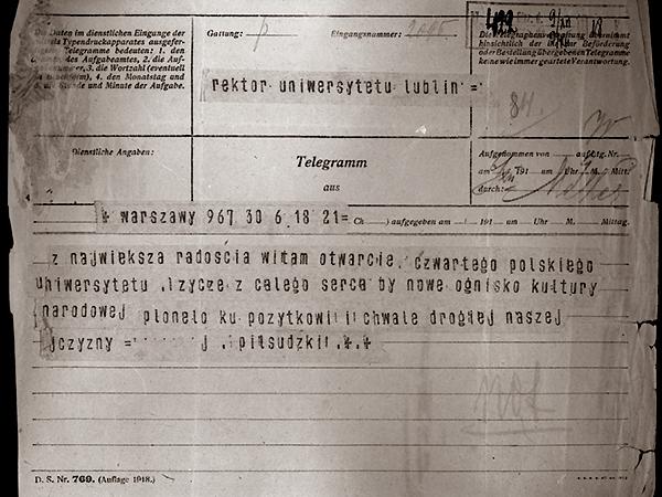 Telegram gratulacyjny marszałka Józefa Piłsudskiego w związku z rozpoczęciem działalności KUL (Fot. z archiwum autora)