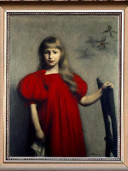 Józef Pankiewicz, Portret dziewczynki w czerwonej sukience. (Fot. motywy-literackie.klp.pl)