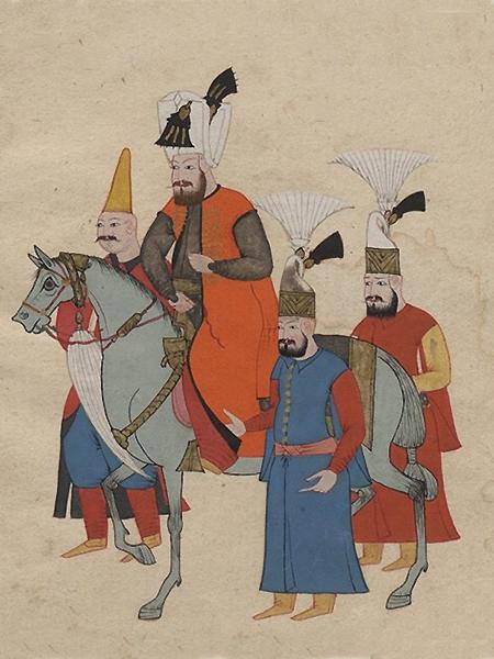 Sułtan Ibráhim na koniu w otoczeniu trzech dostojników, miniatura, Costumes turcs., S.l., ca 1600-1699; Biblioteka Narodowa (Fot. wilanow-palac.art.pl)