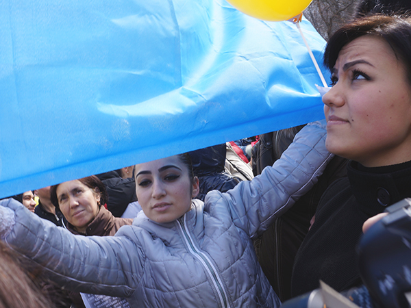 Tatarka na demonstracji (Fot. Wojciech Jankowski)