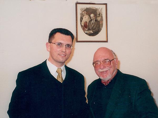 Wiaczesław Wojnarowskyj z reżyserem Jerzym Hoffmanem, Warszawa 1999 r. (Fot. ze zbiorów autora wspomnień)
