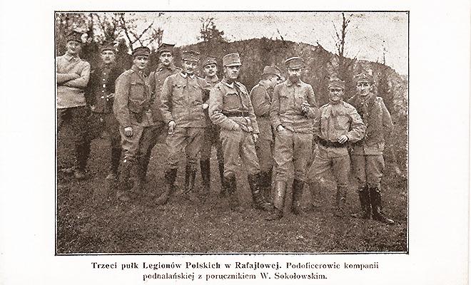 Legioniści w Rafajłowej (stara pocztówka ze zbiorów autora)