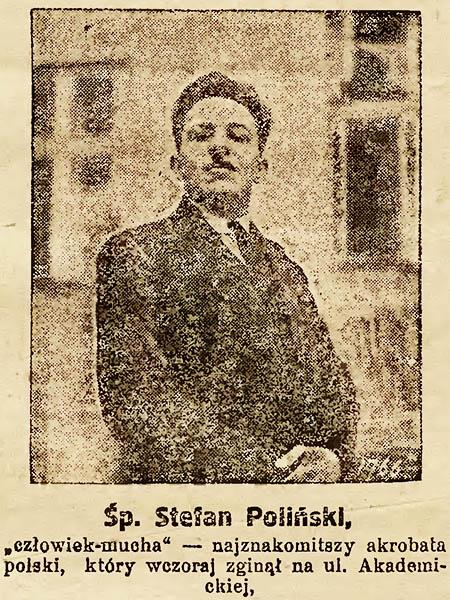 """Stefan Poliński, znany polski akrobata, nazywany """"człowiekiem-muchą"""" (Fot. archiwalne)"""