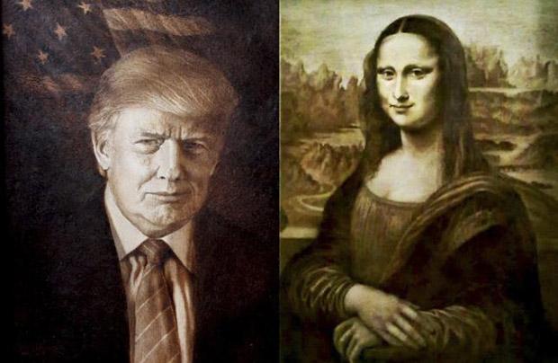 Ukraiński malarz stworzył ogniem Giocondę i portret Trumpa