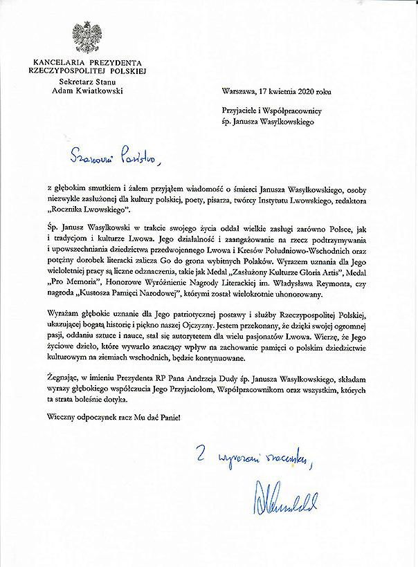 Nie żyje Janusz Wasylkowski