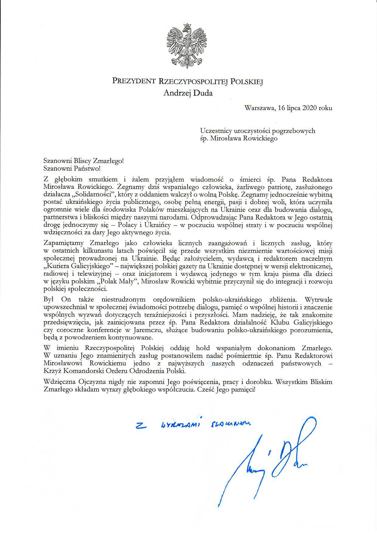 Msza pożegnalna Mirosława Rowickiego w katedrze lwowskiej
